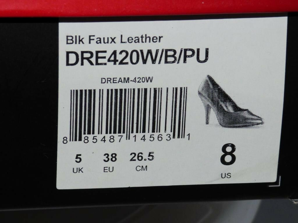 Pleaser Pink Label  DREAM-420 Closed Toe Heels Heels Heels Size Uk 5 Black (Faux Leather) d6fb94