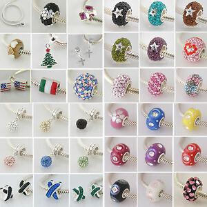 Echt 925 Sterling Silber European Beads Zirkonia Strass Kristall Bettelarmband