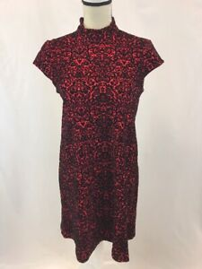 Chelsea-amp-Theodore-Women-039-s-Red-Black-Floral-Print-Sleeveless-Dress-Sz-S