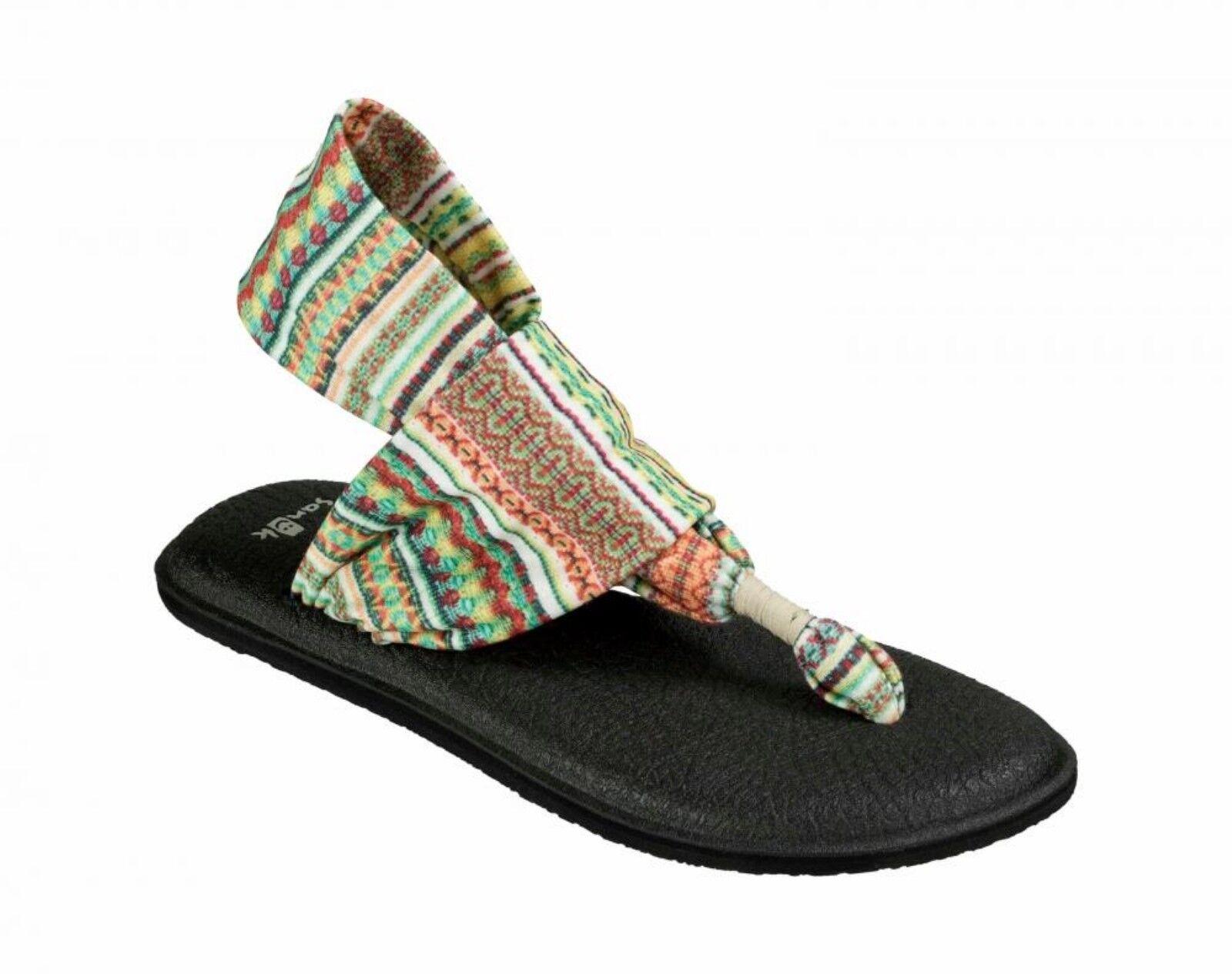 (NEW)Women's SANUK Yoga Sling 2 Print Slip Mat On Thongs/Flip Fops Yoga Mat Slip Tan Sz 6 6ebe20