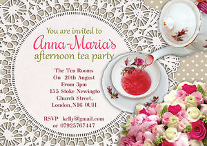 10 x personalised afternoon tea party birthday invitations or thank