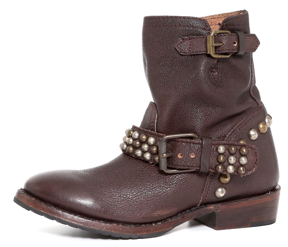 ASH Donna Dark Brown Studded Ankle Boot Sz 36.5 EUR 3369 *