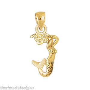 New 14k yellow gold mermaid pendant ebay image is loading new 14k yellow gold mermaid pendant aloadofball Gallery