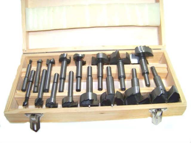 16pc Forstner Bit Set with Wood Case