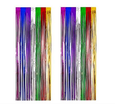 2 Metallic Rainbow Foil Fringe Curtain Backdrop Party Decor Photo Support 3/' x 8