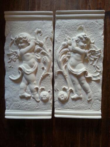 2 Architectural Ornate Plaster Cherub Angel Wall Hanging Decor Plaques Cream New