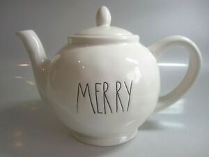 Rae-Dunn-MERRY-Teapot-New-Without-Tags-Hard-To-Find