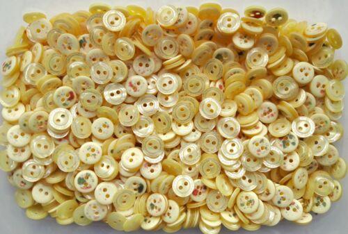 Petit 12 mm 20 l jaune pâle à motifs poli 2 Trous Craft Boutons Bouton Z31