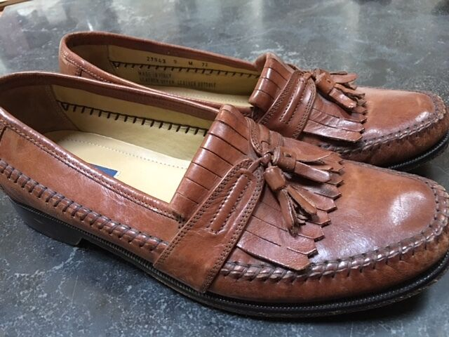 Men's Bostonian Florentine Made in  Dress shoes Loafers Brown Tassel 9 M
