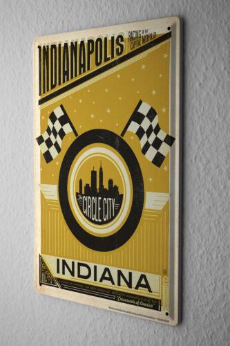 Tin Sign World Tour  Indianapolis Circle City Auto Racing Metal Plate