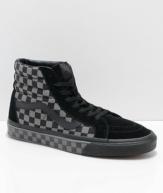 84a5633c5fb057 VANS Sk8 Hi Reissue Checkerboard Black pewter Men s Shoes 8 for sale online