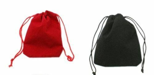 """50 Small BLACK GIFT Jewelry Drawstring Bags 2-1//2/"""" x 3/"""" Flocked Velveteen Pouch"""