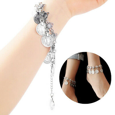 Tribal Ethnic Silver Coin Tassel Gypsy Turkish Anklets Bracelet Jewelry New t7
