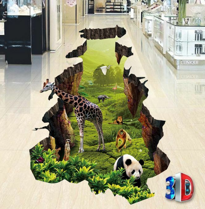 3D Animal World Floor WallPaper Murals Wall Print Decal 5D AJ WALLPAPER