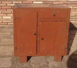 Dettagli su credenza dispensa anni 50 mobile cucina basso madia  modernariato vintage legno