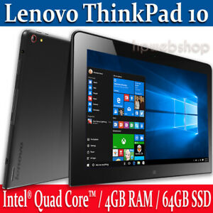 Lenovo-ThinkPad-10-Touch-Tablet-PC-64GB-4GB-RAM-Intel-1-6Ghz-CPU-Win-10-Pro