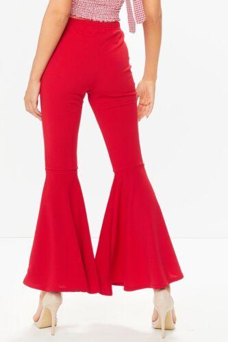 Ladies Bell Bottom Flared Frill Hem Trousers Womens High Waist Black Pants 8-14