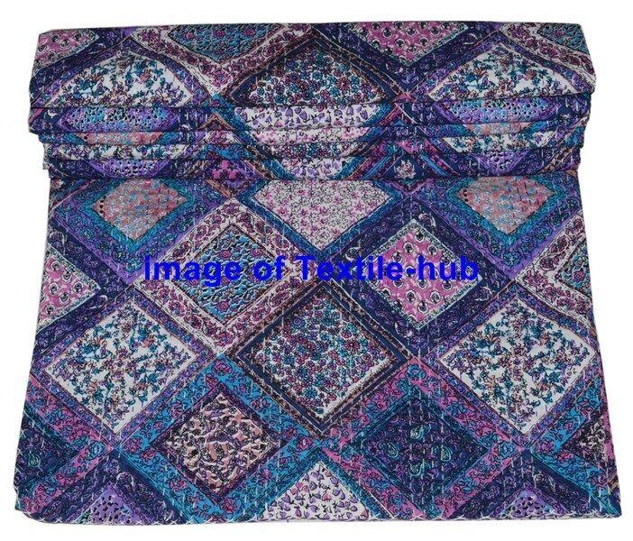 Indian Handmade lila Farbe Queen Kantha Work Quilt Bedspread Blanket Throw