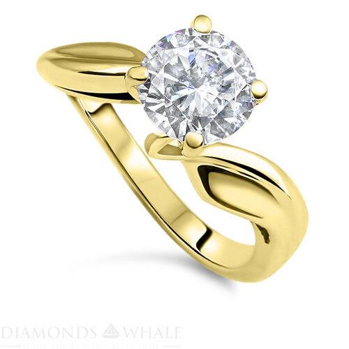 Engagement Diamond Ring Enhanced Real Diamond 0.3 CT SI1 E Yellow gold 14K