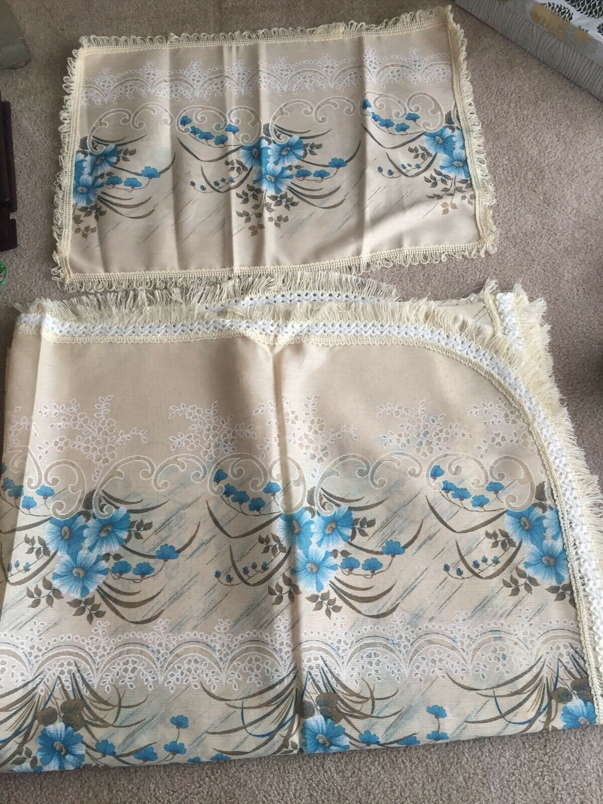 Dolz Vintage 1980s ANA Pillow Case Bed Spread blueeee Flower Morning Glory
