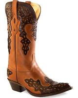 Old West Women's Overlay Leather Western Boot Pointed Toe - 18055
