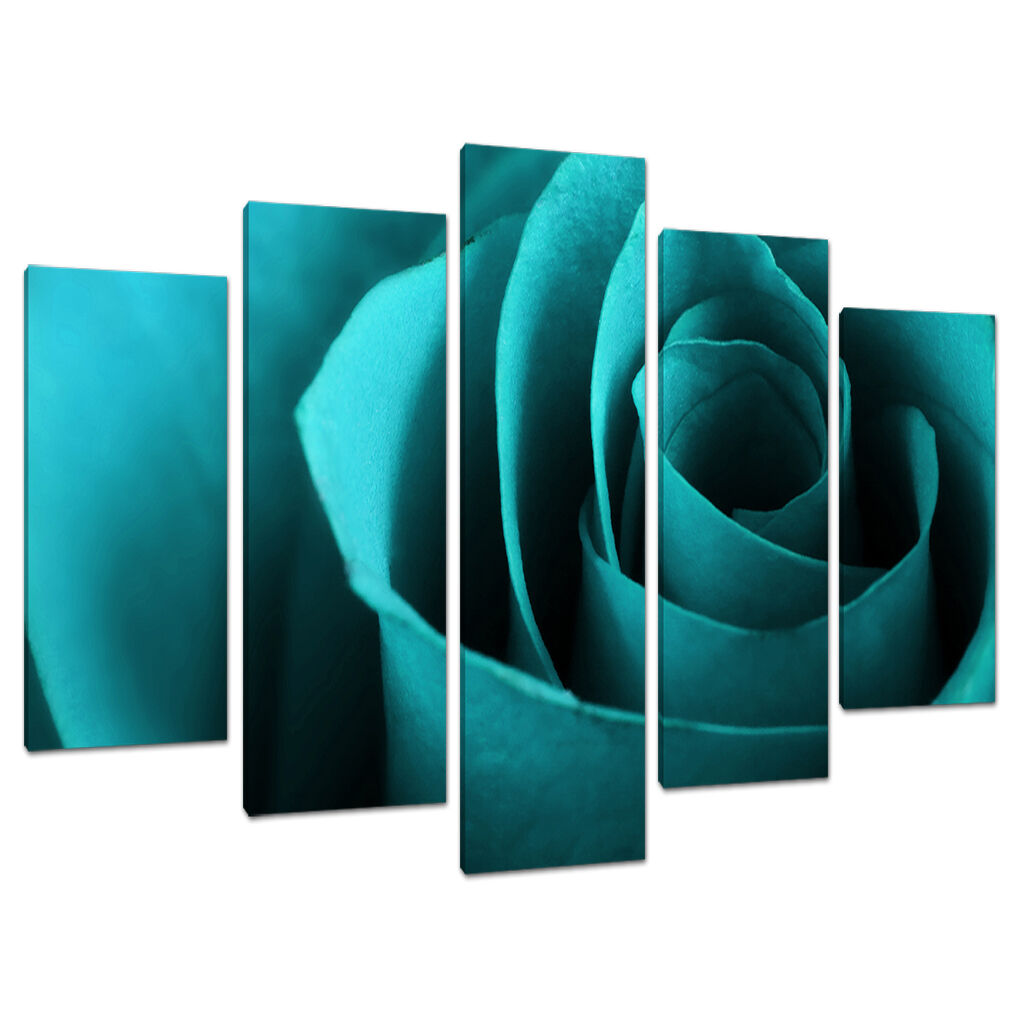 Set of 5 Teal Blau Blau Blau Floral Canvas Wall Art Pictures Bedroom Prints 5109 65f003