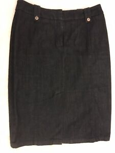 House Of Fraser Austin Reed Ladies Front Split Dark Blue Denim Skirt Size 12 Ebay