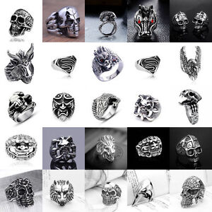 Hot-Men-039-s-Stainless-Steel-Gothic-Punk-Skull-Silver-Ring-Fashion-Jewelry-Size8-10