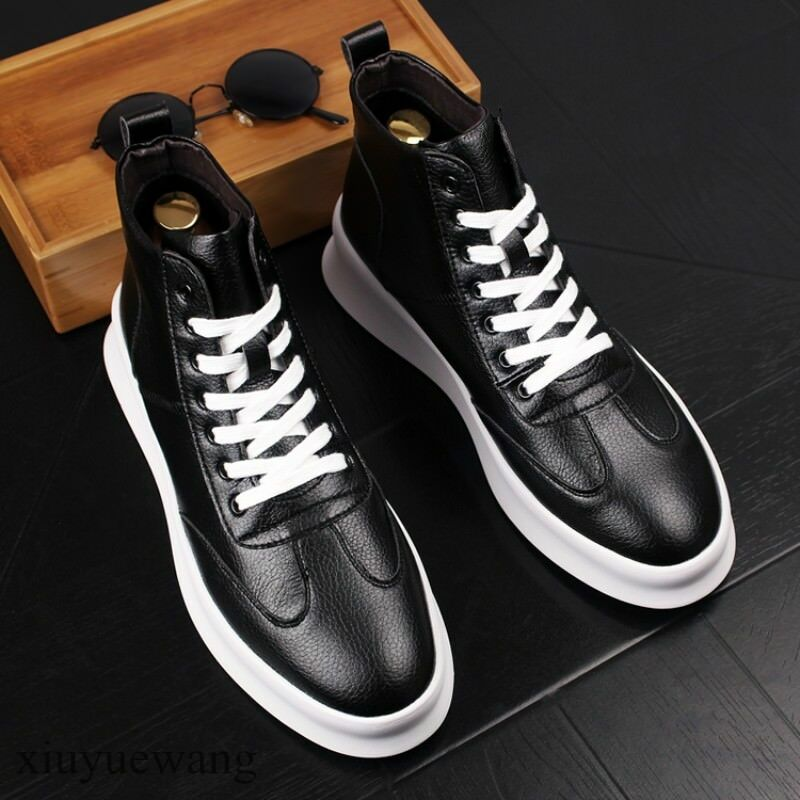 Hip-Hop Boy Homme Leather Lace up Fashion Athletics Sneakers Trainers Casual Chaussures