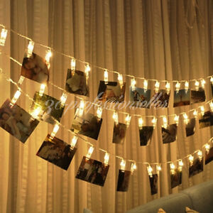 20/40LED Peg Clip Hanging Photo Picture Fairy String Light Bedroom Children Room eBay