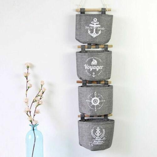4 Taschen Hängeaufbewahrung Hängeorganizer Wand Utensilo Tasche Organizer Neu