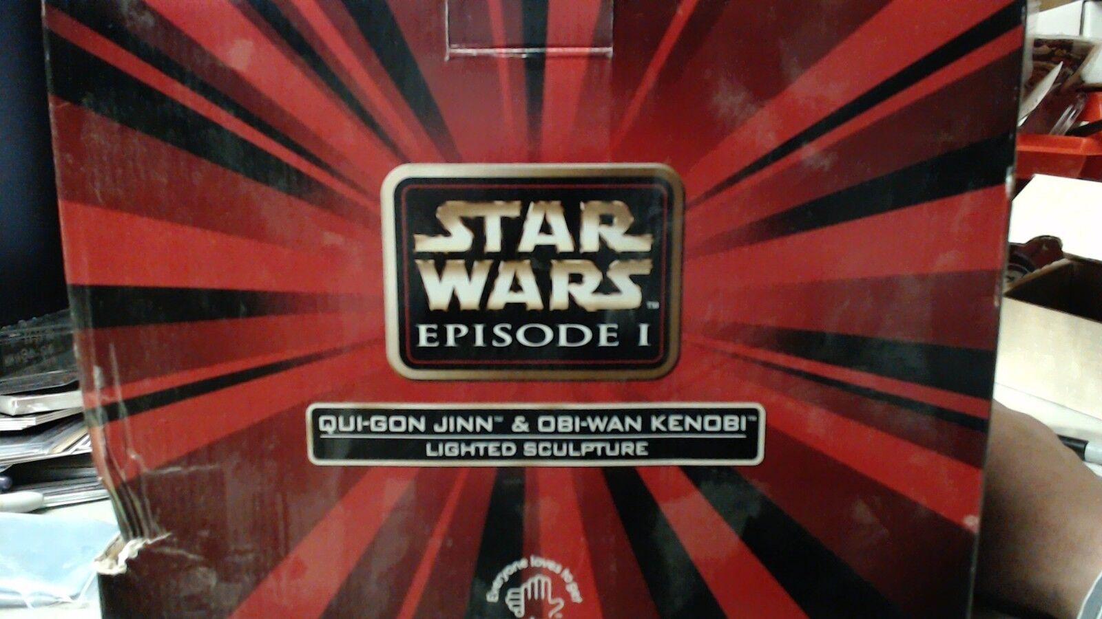 Star Wars episodio 1 Qui-Gon Yinn Obi Wan Kenobi Jedi estatua escultura Iluminada