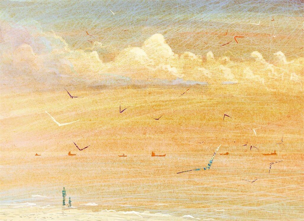 3D Golden Beach Welle    Vögel 86 Fototapeten Wandbild BildTapete AJSTORE DE Lemon | Sonderaktionen zum Jahresende  a5856f