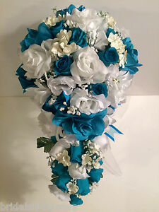 Malibu Turquoise White Silk Flower Wedding Bridal Bouquet Cascade