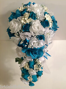 Malibu Turquoise White Silk Flower Wedding Bridal Bouquet Cascade ...