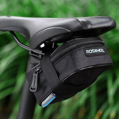 ROSWHEEL Bike Saddle Bag Cycling Seat Storage Bicycle Tail Rear Pouch Black
