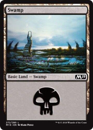 4 x Swamp Magic the Gathering MTG Basic Land - M19 2019 Core Set 272//280