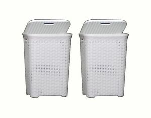 2X-60L-Large-Rattan-Plastic-Laundry-Bin-Washing-Bin-Multi-Storage-Basket-WHITE