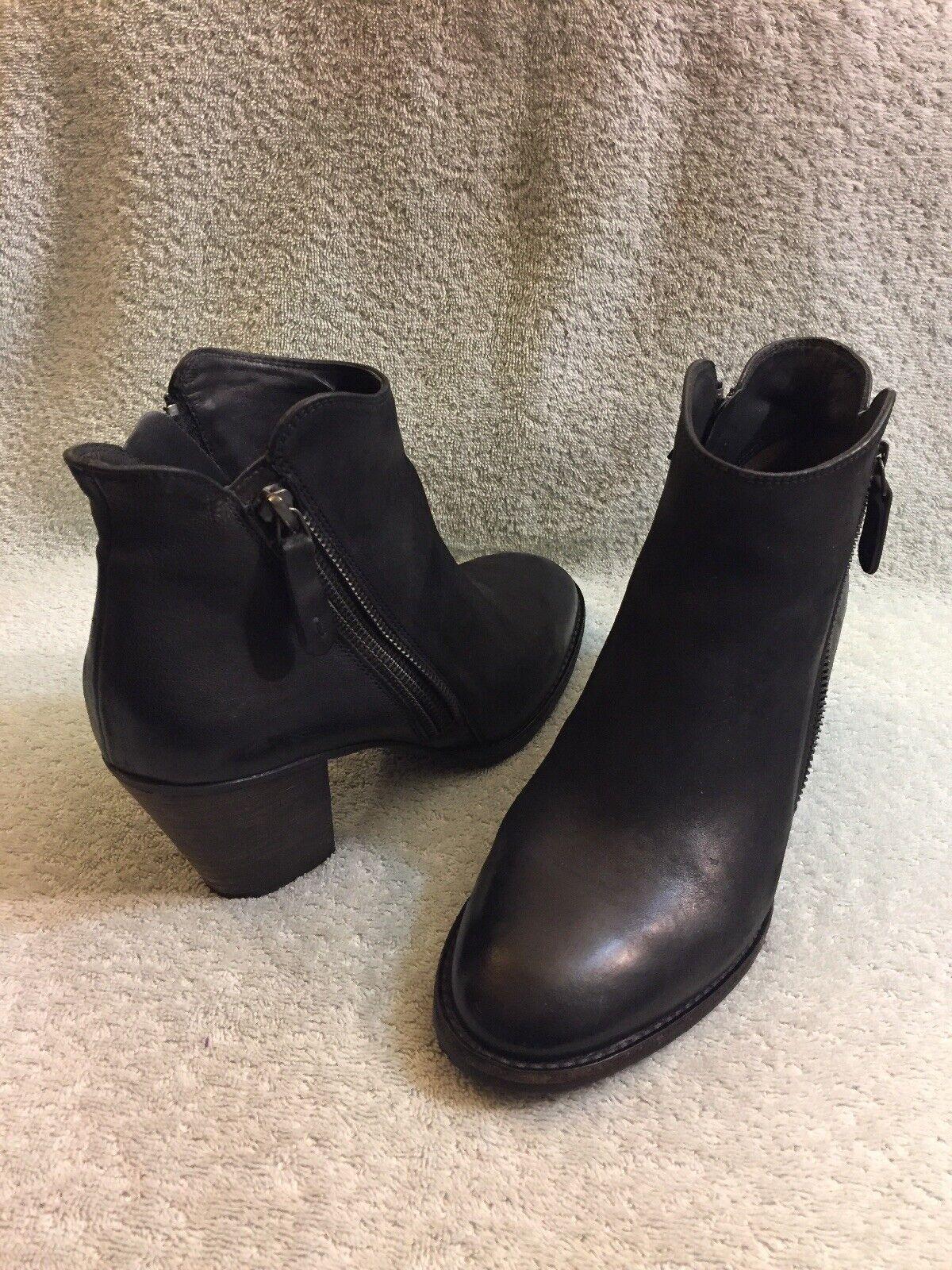 Paul verde Munchen botas al Tobillo de Cuero Negro Cremallera Doble Cremallera Mujer nos 8
