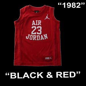 "BOYS MICHAEL JORDAN ""FLY SINCE 1928"" LEGACY 23 YOUTH JERSEY BLACK RED 959947 SZ"
