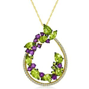 Le Vian® Pendant - Peridot, Semiprecious, White Topaz - 14K Honey Gold™