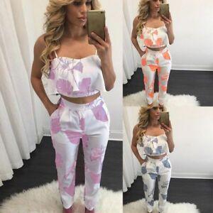 f759b3e5e1 Women 2 Piece Outfits Sleeveless Floral Print Crop Top Pants Set ...