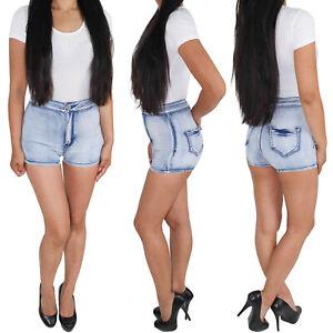 Damen-High-Waist-Hot-Pants-Jeans-Shorts-Kurze-Hose-Sommerhose-Stretchhose
