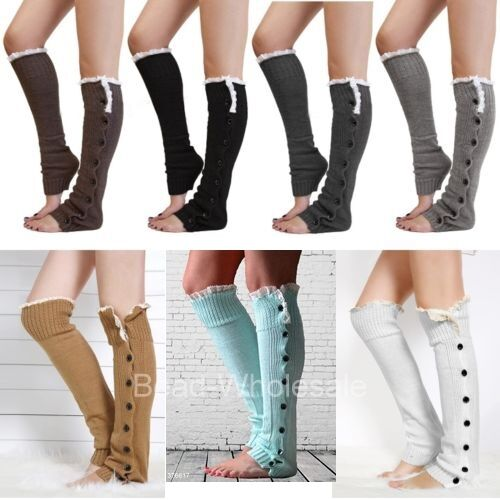 Nice New Lady Crochet Knitted stocking Leg Warmers Boot Cover Lace Legging Socks