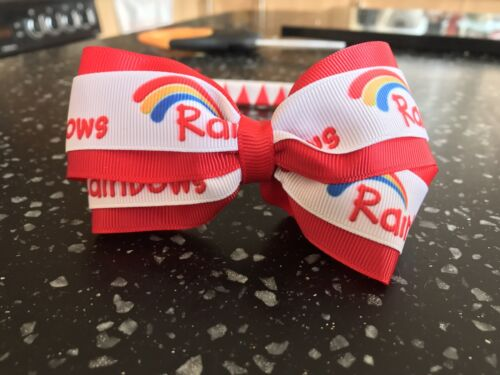 Handmade Rainbows Bow On Woven Headband Alice band Girl Guiding Club Uniform