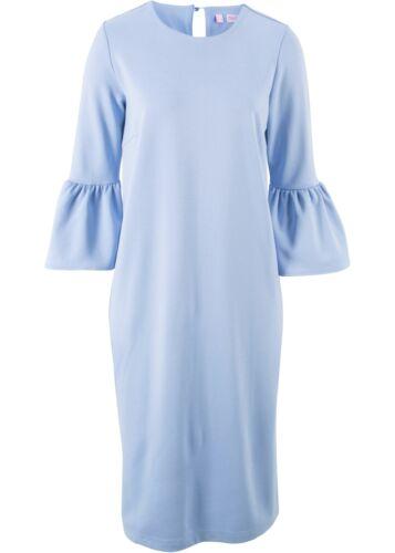 Kleid Jersey Gr 40 hellblau Volantärmel knielang 3//4 Arm blickdicht NEU