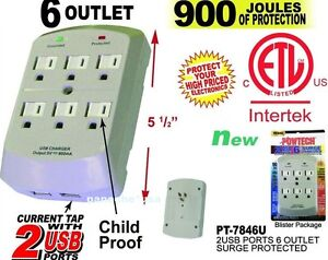 6 Outlet Wall Tap With 2USB Ports Surge Protector Lightningproof