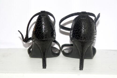 Uk Heel Stiletto Croc Once Faux 8 Così Ankle Peeptoe Black Strap favoloso Worn Uz68qW1