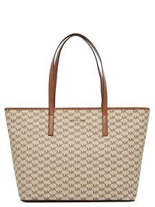 afa669e38d5c Michael Kors Studio Emry Large Signature Tote Bag Purse Natural/ Luggage