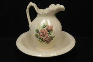 Porcelain Pitcher & Wash Basin Hand Painted Robin Beufils Floral